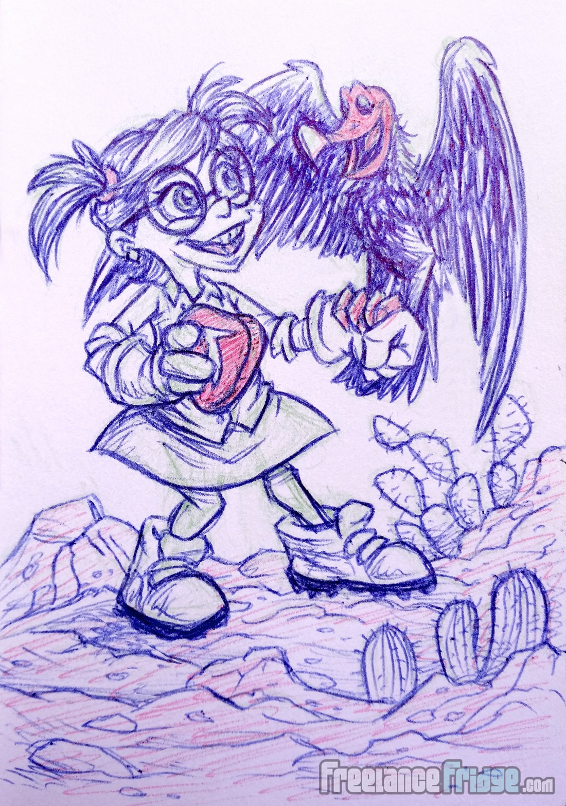 Cute Young Girl Character with Turkey Vulture Pet Cartoon Pencil and Ball Point Pen Sketch Drawing Illustration