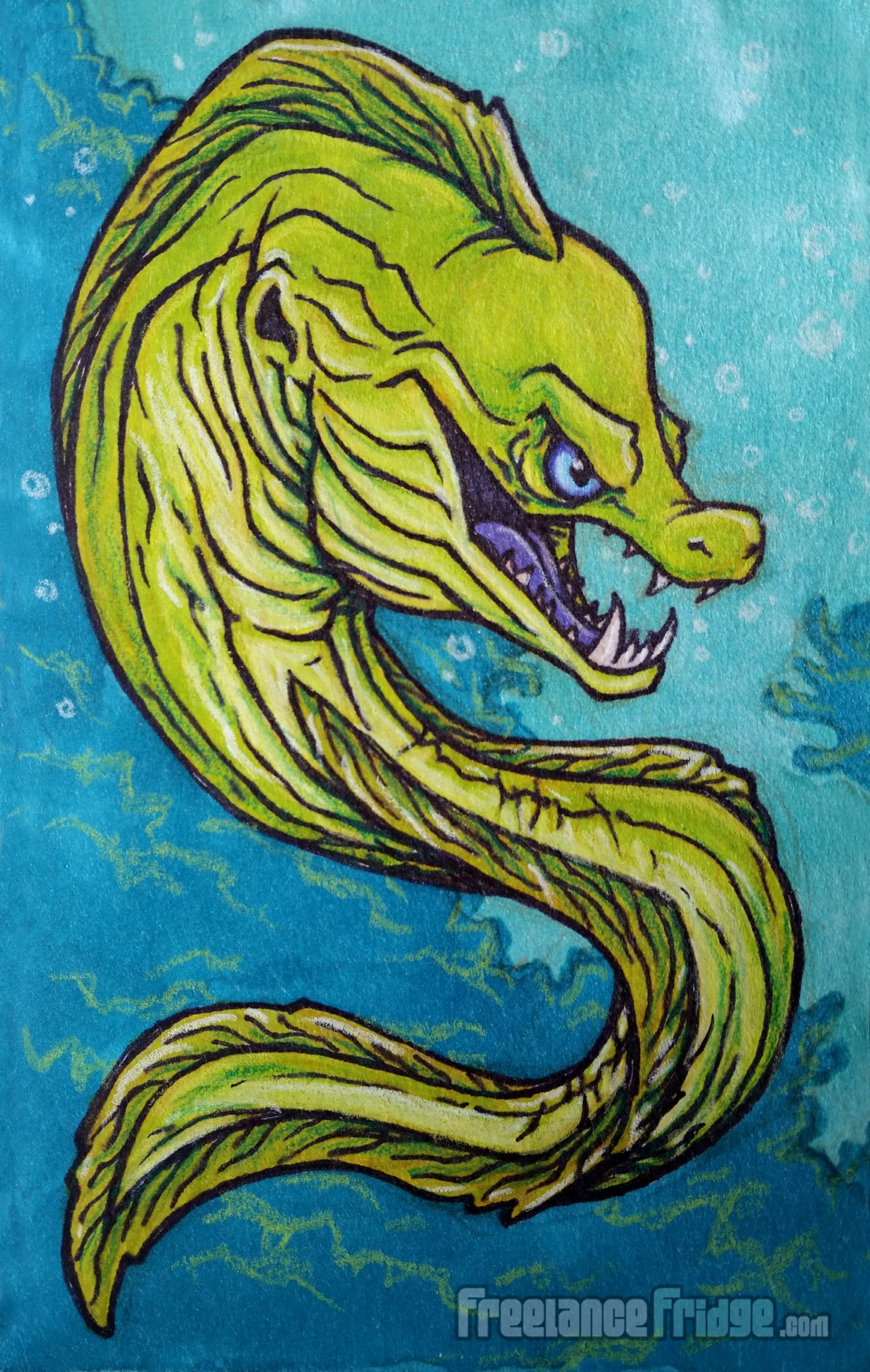 Mean Cool Green Moray Eel Ocean Creature Concept Cartoon Sharpie and Marker Drawing Illustration