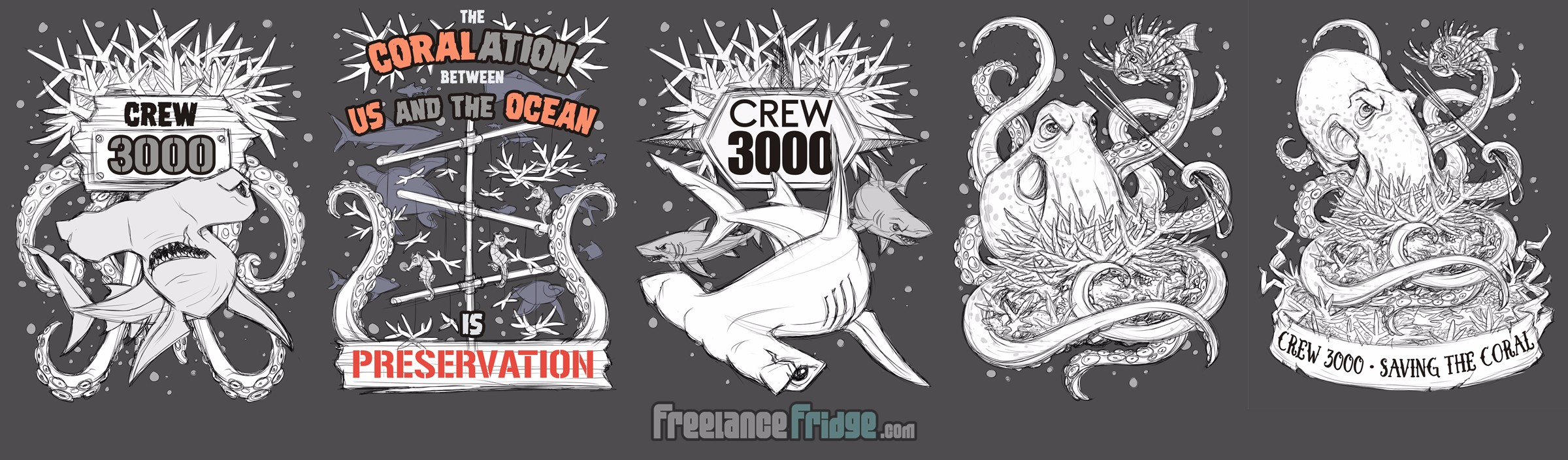 Ocean Conservation Saving the Corals Rescuing Sea Life Club T-Shirt Concept Sketches