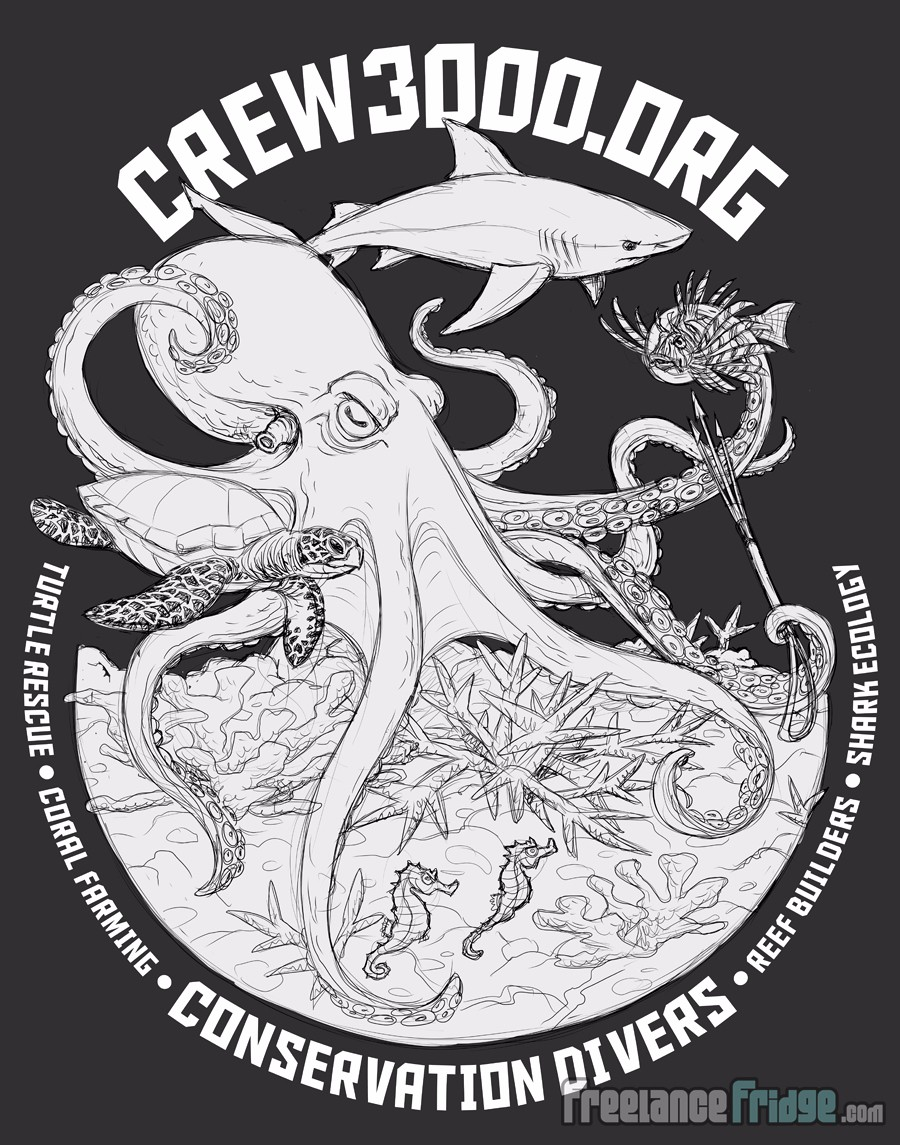 Ocean Conservation Saving the Corals Rescuing Sea Life Club T-Shirt Final Approved Concept Sketch