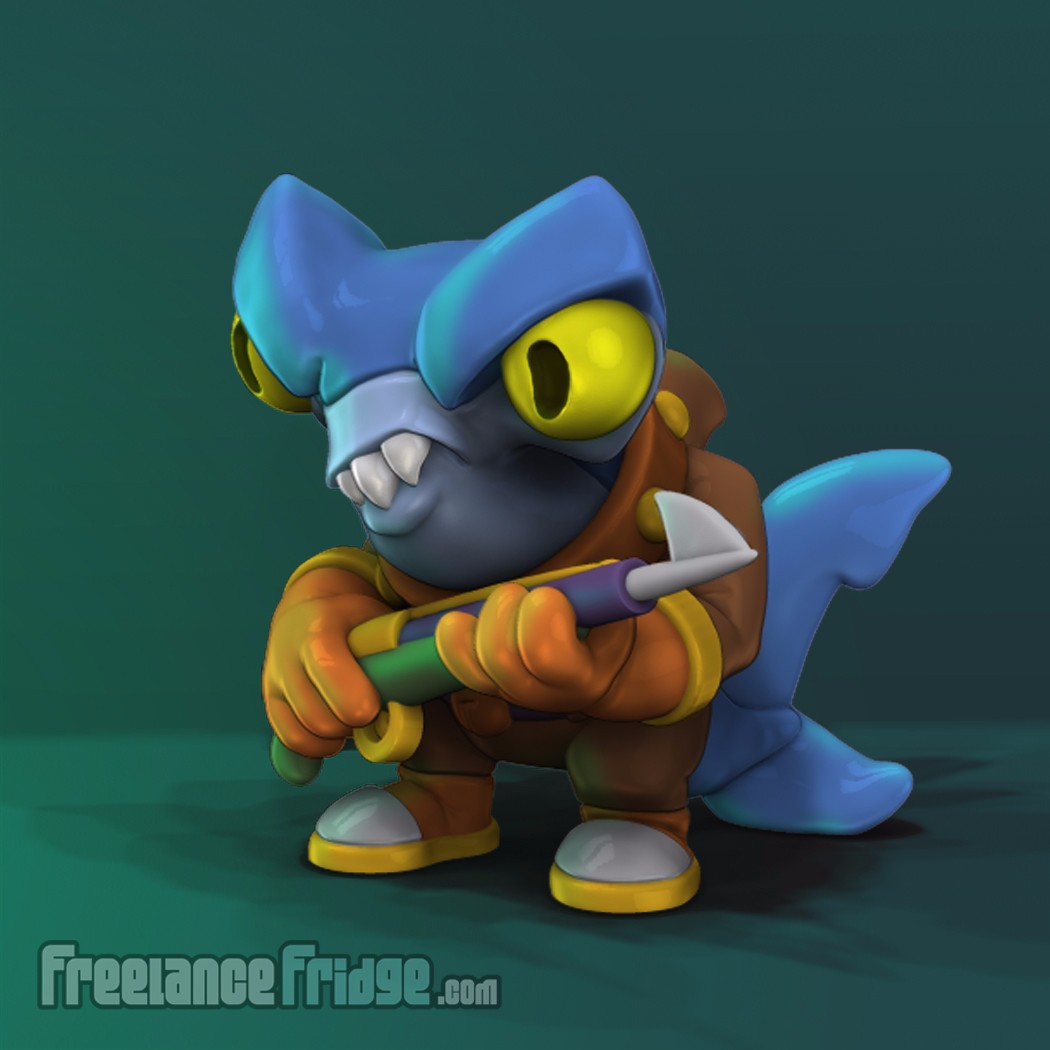 Scuba Shark Original Designed Character 3D Model Render for Collectible Toy