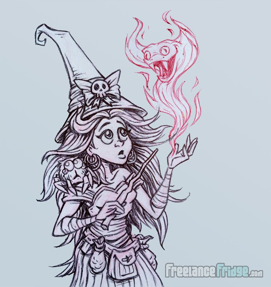 Cute Witch Girl Character with Pet Jumping Spider Casting a Spell Cartoon Pencil and Pen Sketch Drawing Illustration