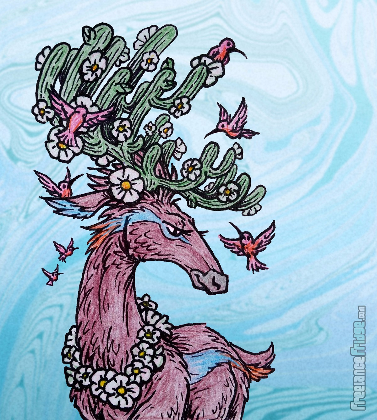Deer with Cactus Antlers Hummingbirds Feeding Ink and Colored Pencil Sketch Drawing Illustration