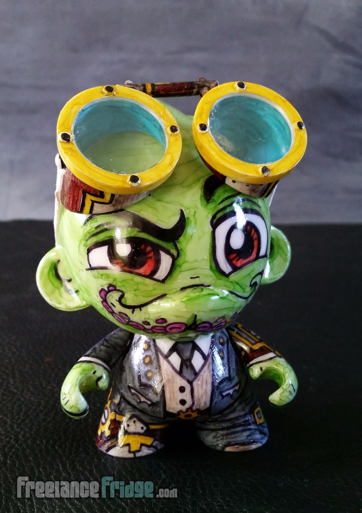 Steampunk Cthulhu with Goggles Custom Drawn KidRobot Foomi Munny Vinyl Character 1 front view