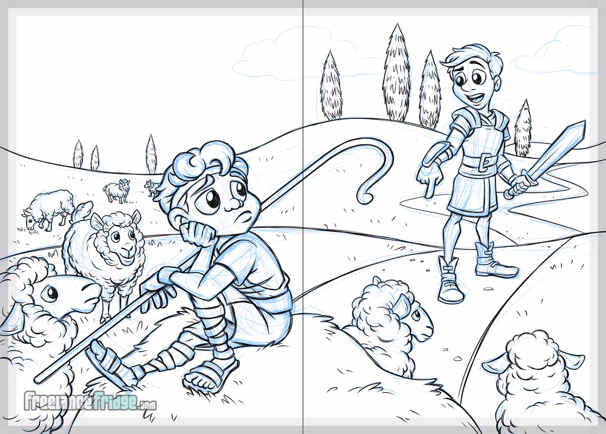 Big Shot Sling Shot David and Goliath Christian Children's Book Sketch Page 02