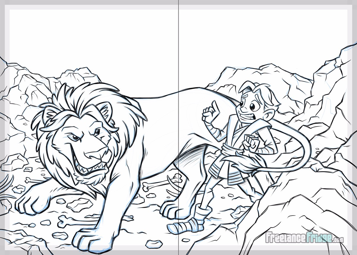 Dan For Dinner Daniel and the Lion's Den Christian Children's Book Sketch Page 12