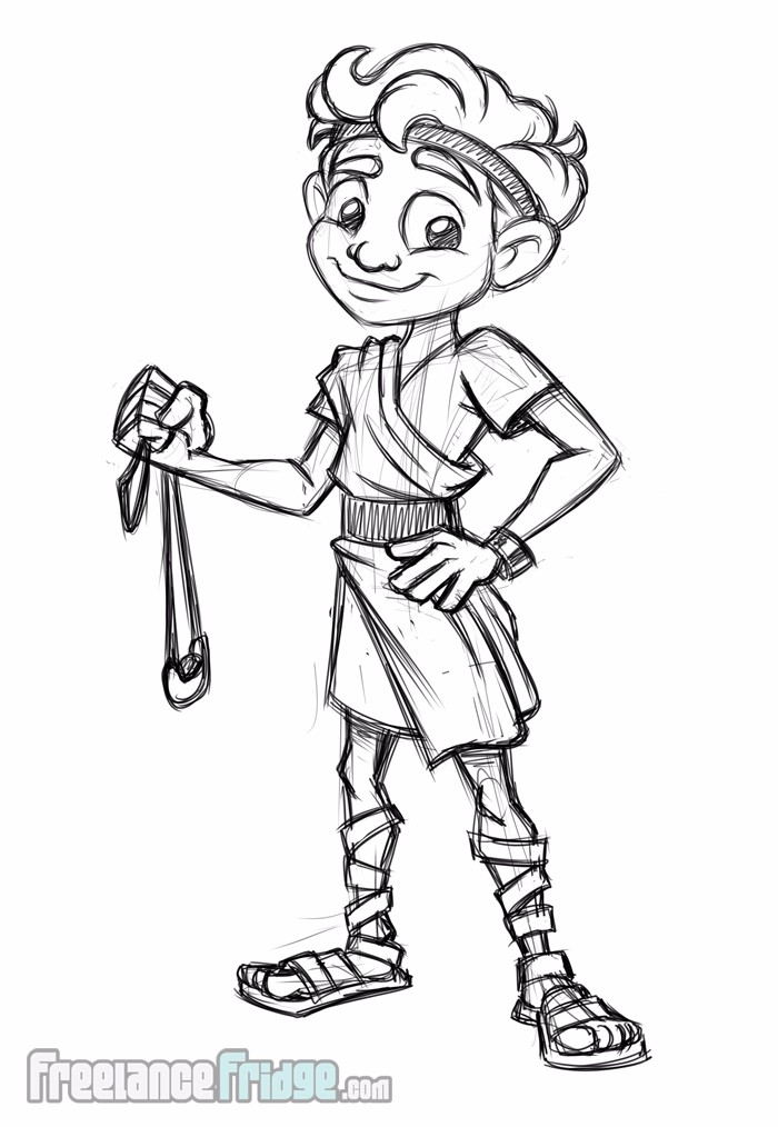 David and Goliath Character Concept Sketch for Kid Literature Children's Book