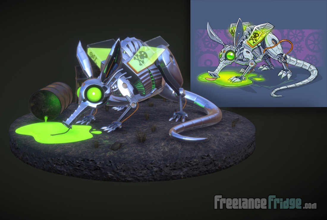 Toxic Waste Robot Aardvark Creature modeled in 3D