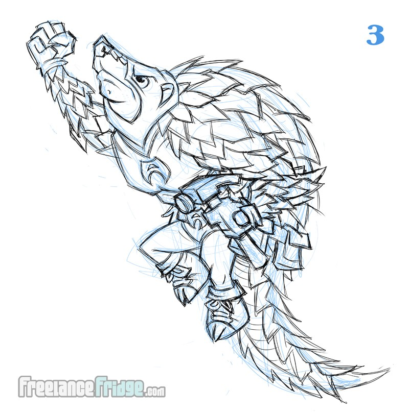 Atomic Pangolin Sketch Of Superhero With Hammer