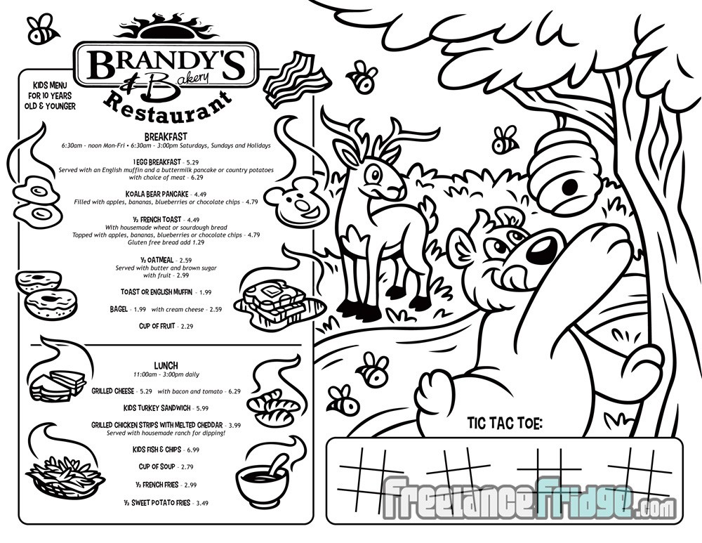 Brandy S Tees Kid Menu Designs Freelance Fridge Ilration Entertain Kids With Restaurant Coloring Activity Puzzle